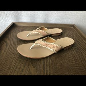 Jack Rogers Flat Sandals -Tan/Gold -Women Sz. 7.5